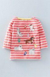 Mini Boden 'Village Heroes' Stripe Appliqué Tee (Toddler Girls, Little Girls & Big Girls)