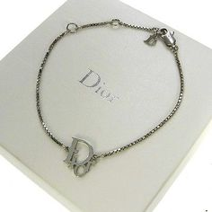 Authentic Christian Dior Chain Bangle Bracelet Silver Accessories Vintage 00H896 - http://designerjewelrygalleria.com/christian-dior/authentic-christian-dior-chain-bangle-bracelet-silver-accessories-vintage-00h896/