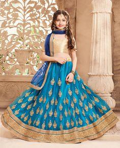Wedding wear blue lehenga choli in net for kids