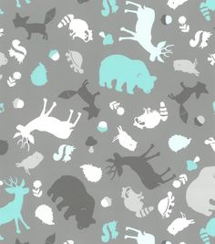 Nursery Fabric Simply Silhouette Animalsnursery Animals Canvas