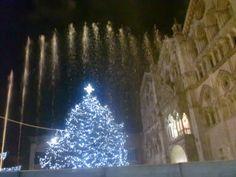 Ferrara - Cathedral and Water Show at Christmas 2013 Lo spettacolo delle Fontane luminose davanti alla Cattedrale di Ferrara - Natale 2013