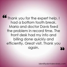 #TestimonialTuesday Davis and Engert Dentistry received a new testimonial this week! To read more of our reviews, please visit dentistinparkridge.com/testimonials.