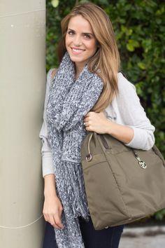Julie from Galmeetsglam.com sporting her Army Green O.G. (overnight & gym) bag \\ Julia Engel, Gal Meets Glam