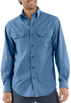 $29, Long Sleeve Chambray Shirt by Carhartt. Sold by EssentialApparel.com. Click for more info: http://lookastic.com/men/shop_items/1232/redirect