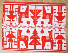 Swedish retro vintage 1950s printed red/ white cotton design tablet tabelcloth in with Christmas Staffan Stalledräng motives White Cotton, Red And White, Troll, Retro Vintage, Jul, 1950s, Noel, Xmas