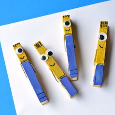 This easy Minions Clothespin Craft lets little ones create their own minions that they can take with them wherever they go. These clothespin crafts for kids are budget-friendly and fast, meaning your kids can create their own army of minions in no ti Kids Crafts, Crafts To Make, Arts And Crafts, Minion Birthday, Minion Party, Happy Birthday, Diy Bonitos, Craft Tutorials, Craft Projects