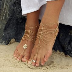 Gold Wedding barefoot sandals with delicate gold chains. Sold as pair. Style: 'Cherish' on Etsy, $59.95 AUD