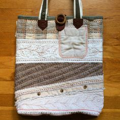 hand quilted linen tote bag