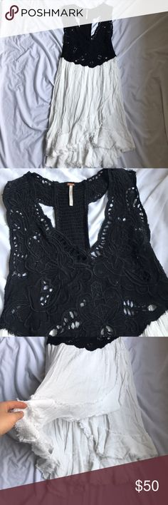 Free people kissed by the waves mini dress XS Worn once, perfect beach cover up since the white party on the bottom is sheer and the top has no lining Free People Dresses