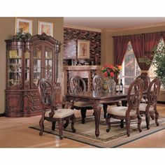 9-Piece Dining Room Furniture Set in Cherry - Coaster - COAST-11010211-DSET-1 - Dining Room Set, Dining Room Furniture