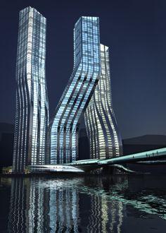 Dancing Towers. Zaha Hadid's Modern Architecture Award winning design #architecture #modern