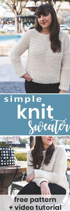 Make this simple knit sweater with my step-by-step beginner friendly video tutorial and free pattern!