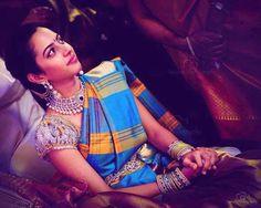 South Indian bride. Kanchipuram silk sari. Temple jewelry. Braid with fresh flowers. Tamil bride. Telugu bride. Kannada bride. Hindu bride. Malayalee bride.