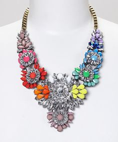 Take a look at the Sorta Southern Boutique Rainbow Flower Crystal Statement Bib Necklace on #zulily today!