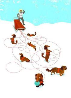 Dachshunds sled