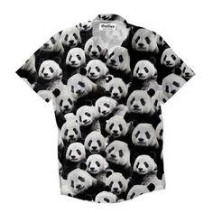 Panda Invasion Short-Sleeve Button Down Shirt by Shelfies Panda Panda, Button Down Shirt, Button Shirts, T Shirt, Shirts, Tee, Tee Shirt