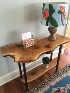 Live Edge Entryway Console Table Sofa Table Rustic, Industrial, Mid Century Modern, White Oak Wood Slab Double Shelf