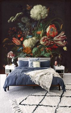 Oil painting vintage floral - Printed Removable Self Adhesive paper / wallpaper / wall mural / peel & stick / Flower Wallpaper, Of Wallpaper, Bubbles Wallpaper, Adhesive Wallpaper, Wall Design, House Design, Interior And Exterior, Interior Design, Bedroom Decor