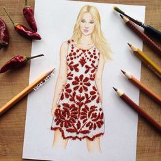 the Armenian illustrator and fashion designer Edgar Artis is having fun imagining creative and very appetizing culinary dresses by completing his drawings with a wide variety of ingredients, from chocolate to popcorn through honey, M&M's, butter, fruits or even french fries and ketchup