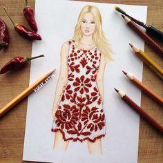 dibujos a lapiz de chicas con vestidos de fruta real - Buscar con Google
