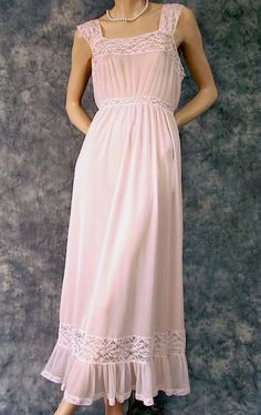romantic nightgowns for blushing brides | Romantic Pink Vintage Nightgown with Lace & Pleats Hem