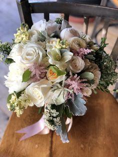 June Wedding at Whiteface Club Bridal Bouquet Pink, Fall Wedding Bouquets, Wedding Flowers, Astilbe Bouquet, Aisle Flowers, Dusty Miller, Clematis, Flower Arrangements, Peonies