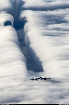 Tu-95 Bear downwash effect in clouds