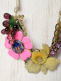 Free People one of a kind vintage flower necklace
