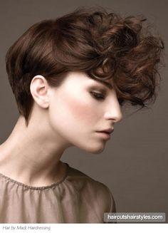 short hair, curly bangs