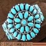 Navajo Indian Jewelry Sterling Silver and Turquoise Cuff Bracelet