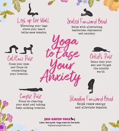 Yoga to Ease Your Anxiety Big Raven Yoga l Infographics Fitness Workouts, Yoga Fitness, At Home Workouts, Anxiety Relief, Stress And Anxiety, Stress Relief, Sleep Yoga, Bedtime Yoga, Yoga Exercises