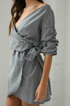 Plaid V Neck off Shoulder Tie Waist Dress