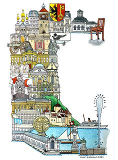 Geneva - ABC illustration series of European cities by Japanese illustrator Hugo Yoshikawa