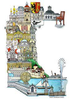 Geneva - ABC illustration series of European cities by Japanese illustrator Hugo Yoshikawa