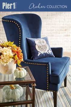 A graceful wing chair in search of a cozy corner, Pier Asher Armchair is a. Blue Wingback Chair, Wing Chair, Chair Upholstery, Chair Fabric, Upholstered Chairs, Navy Velvet Chair, Tufted Armchair, Blue Armchair, Dining Room Blue
