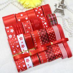 DIY ribbon set---- red color ribbon set (total 23 yards)