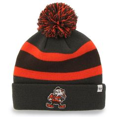 '47 Brand Cleveland Browns Charcoal Breakaway Cuffed Knit Hat with Pom