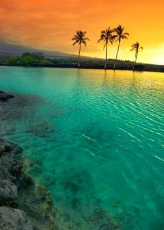 Sunset at Kiholo Bay on the Kohala Coast of the Big Island of Hawai