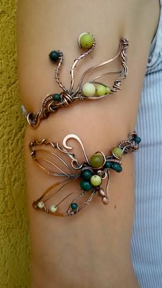 Copper wire arm bracelet with natural Olive Jade by Tangledworld