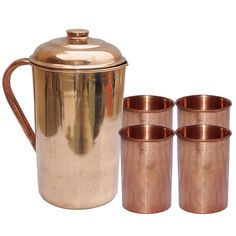 Amazon.com | DakshCraft ® Pure Copper Jug with 4 Pure Copper Tumbler Glass Set for Ayurvedic Healing: Mixed Drinkware Sets