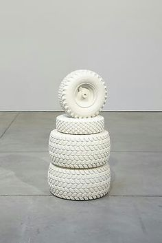Peter Liversidge  Tire Monument, 2011 found tires cast in marble