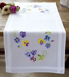 Vervaco Table Runner Stamped Embroidery Kit Pansies Image 1 of 1 Types Of Embroidery, Learn Embroidery, Vintage Embroidery, Embroidery Stitches, Embroidery Patterns, Hand Embroidery, Machine Embroidery, Hardanger Embroidery, Embroidery Transfers