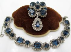 Kramer of New York Sapphire Blue Rhinestone Bracelet and Brooch Set