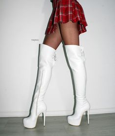 New Stylish Women Winter Over The Knee Boots Thin High Heels Boots Sexy 2019 Knee High Platform Boots, Thigh High Boots Heels, Knee Boots, Heeled Boots, High Heels, Boot Heels, White High Heel Boots, Casual Skirt Outfits, Mode Outfits