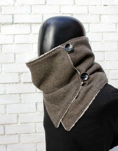 Men scarf. Men cowl Extra Wide Herringbone wool by CheriDemeter