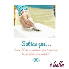 Hoy se cumplen 77 años del voto femenino en Uruguay! Decídete a ser dueña de tu propio destino, y lucha hasta conseguirlo! Visitanos en www.ebella.com.uy Los #accesoriosfemeninos mas lindos, para acompañarte al éxito! #accesoriosparamujeres