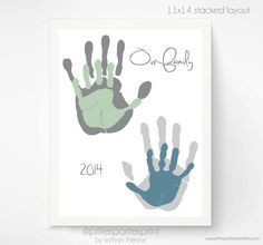 Personalized Hand Print Family Portrait 11x14 by PitterPatterPrint