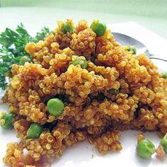 Curried Quinoa - Allrecipes.com Indian Food Recipes, Vegetarian Recipes, Cooking Recipes, Healthy Recipes, Ethnic Recipes, Healthy Foods, Vegetarian Dish, Healthy Chef, Savoury Recipes