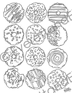 Digital Download DONUTS Coloring Page By EverettandEloise On Etsy