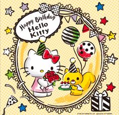 Hello Kitty Art, Hello Kitty Themes, Hello Kitty Images, Hello Kitty Birthday, Hello Hello, Sanrio Wallpaper, Hello Kitty Wallpaper, Birthday Images, Birthday Cards